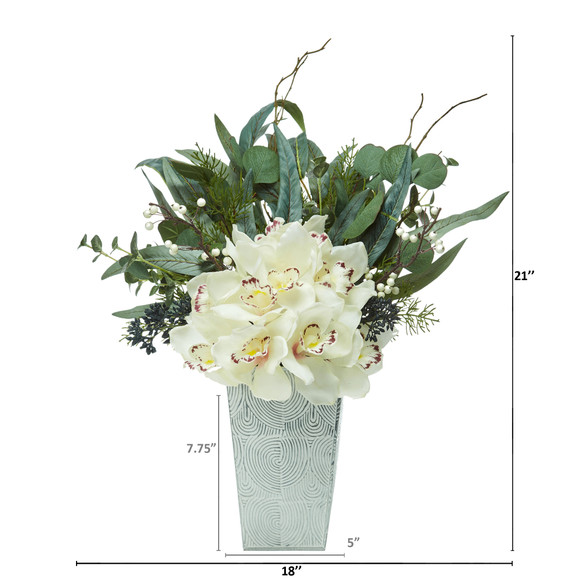 21 Cymbidium Orchid and Eucalyptus Artificial Arrangement - SKU #A1120 - 1