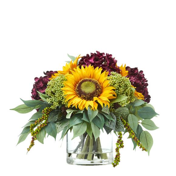 11 Sunflower and Hydrangea Artificial Arrangement - SKU #A1122 - 2