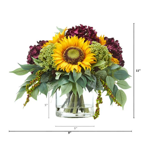 11 Sunflower and Hydrangea Artificial Arrangement - SKU #A1122 - 3