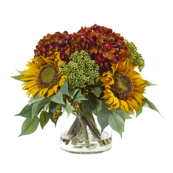 11 Sunflower and Hydrangea Artificial Arrangement - SKU #A1122-RU