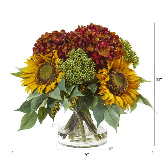 11 Sunflower and Hydrangea Artificial Arrangement - SKU #A1122-RU - 1