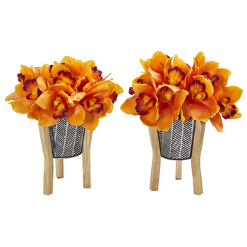 11 Cymbidium Orchid Artificial Arrangement in Tin Vase with Legs Set of 2 - SKU #A1123-S2-OG