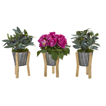 13 Rose and Olive Artificial Arrangement in Tin Vase with Legs Set of 3 - SKU #A1124-S3-PP