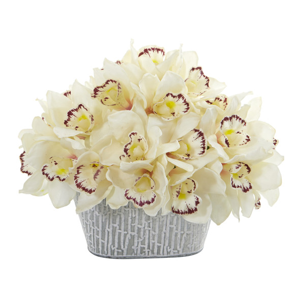 12 Cymbidium Orchid Artificial Arrangement in Tin White Vase - SKU #A1125 - 4