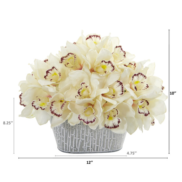 12 Cymbidium Orchid Artificial Arrangement in Tin White Vase - SKU #A1125 - 5