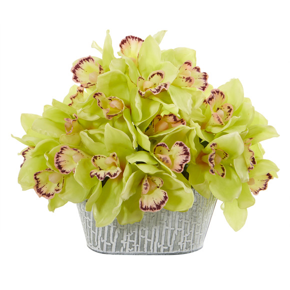 12 Cymbidium Orchid Artificial Arrangement in Tin White Vase - SKU #A1125 - 8