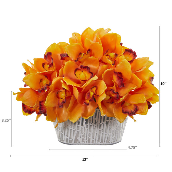 12 Cymbidium Orchid Artificial Arrangement in Tin White Vase - SKU #A1125 - 7