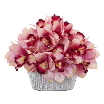 12 Cymbidium Orchid Artificial Arrangement in Tin White Vase - SKU #A1125