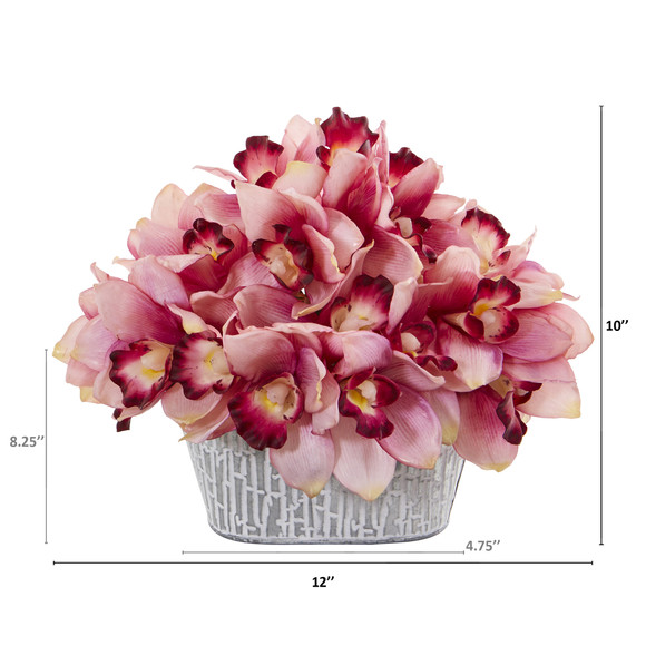 12 Cymbidium Orchid Artificial Arrangement in Tin White Vase - SKU #A1125 - 1