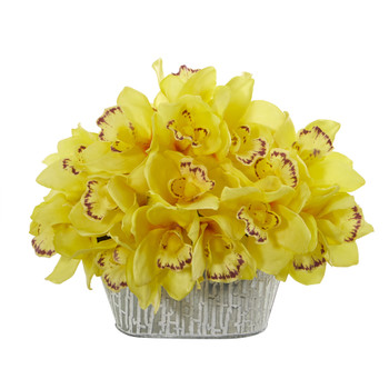12 Cymbidium Orchid Artificial Arrangement in Tin White Vase - SKU #A1125