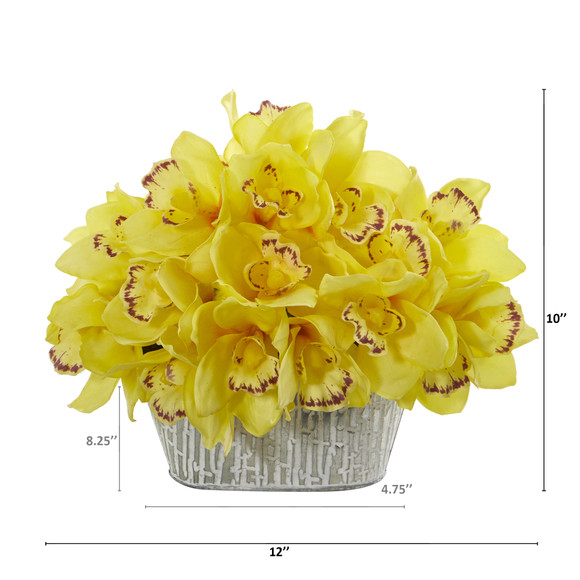 12 Cymbidium Orchid Artificial Arrangement in Tin White Vase - SKU #A1125 - 3