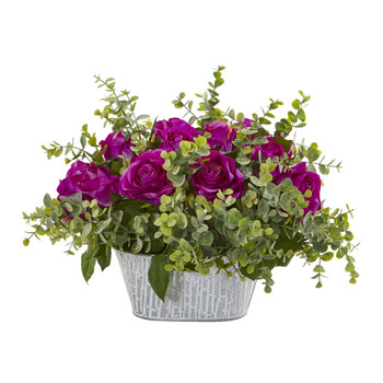18 Rose and Eucalyptus Artificial Arrangement in Tin White Vase - SKU #A1126-PP