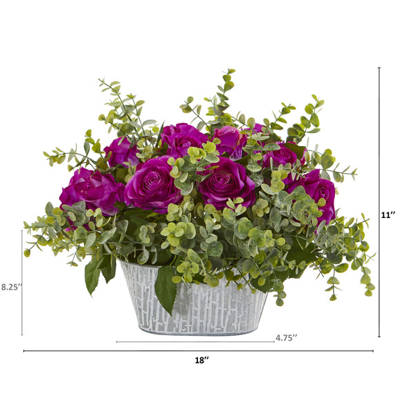 18 Rose and Eucalyptus Artificial Arrangement in Tin White Vase - SKU #A1126-PP - 1