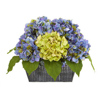 13 Hydrangea Artificial Arrangement in Embossed Tin Vase - SKU #A1127