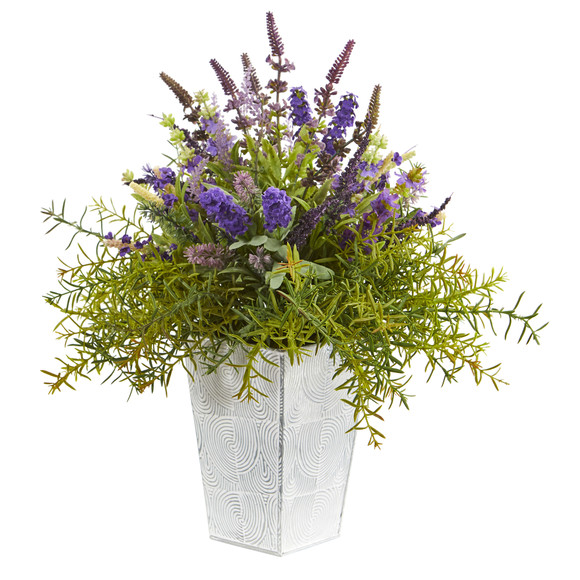 19 Lavender and Rosemary Artificial Arrangement in Embossed White Planter - SKU #A1128
