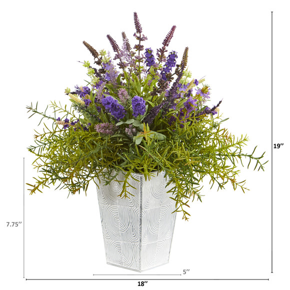 19 Lavender and Rosemary Artificial Arrangement in Embossed White Planter - SKU #A1128 - 1