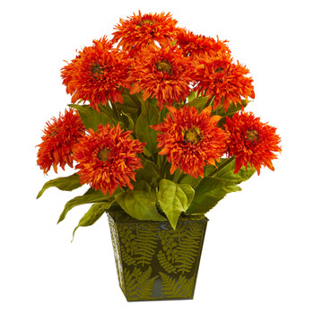 18 Sunflower Artificial Arrangement in Green Tin Planter - SKU #A1129