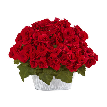 Begonia Artificial Arrangement in Decorative Planter - SKU #A1130-RD