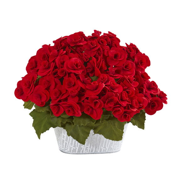 Begonia Artificial Arrangement in Decorative Planter - SKU #A1130