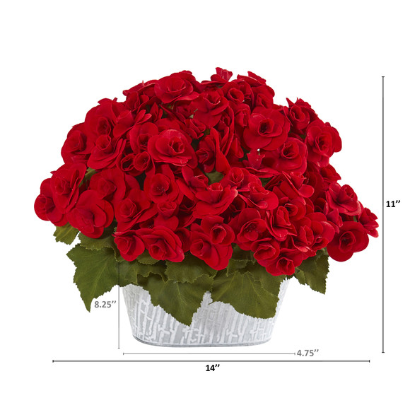 Begonia Artificial Arrangement in Decorative Planter - SKU #A1130 - 1