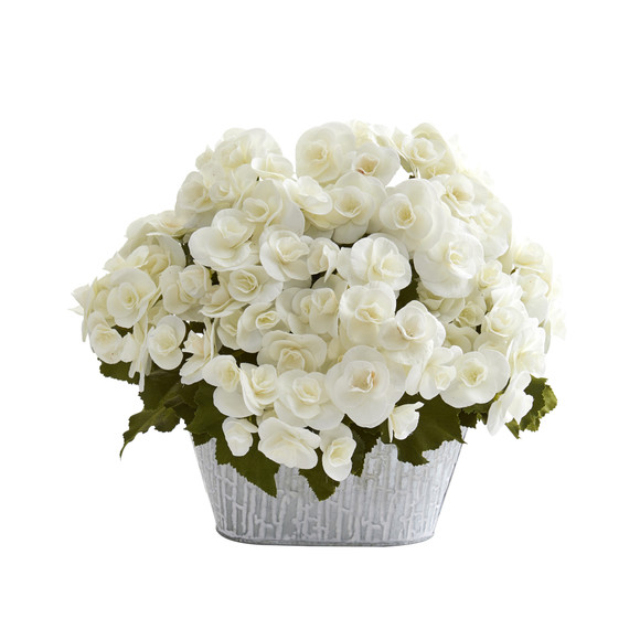 Begonia Artificial Arrangement in Decorative Planter - SKU #A1130 - 2