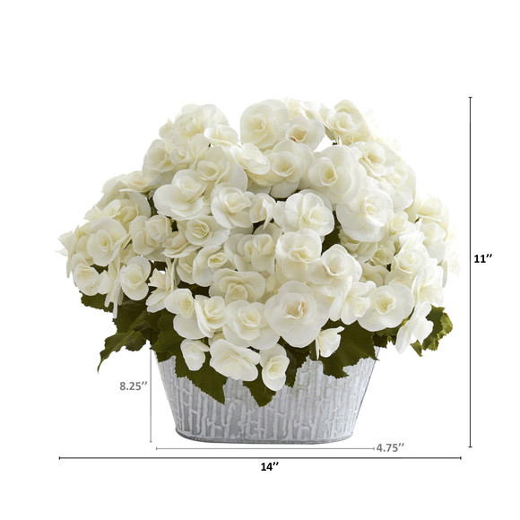 Begonia Artificial Arrangement in Decorative Planter - SKU #A1130 - 3