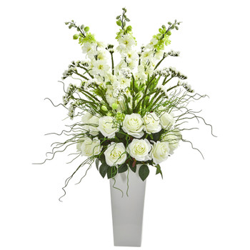 35 Delphinium and Rose Artificial Arrangement in White Planter - SKU #A1131-WH