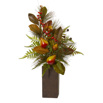 Pears Magnolia Leaf and Fern Artificial Arrangement in Weathered Brown Planter - SKU #A1132