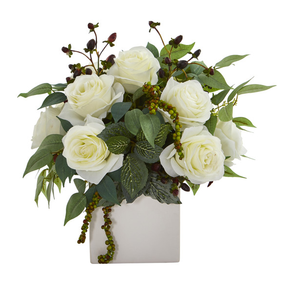 11 Rose and Mixed Greens and Berries Artificial Arrangement - SKU #A1133-WH