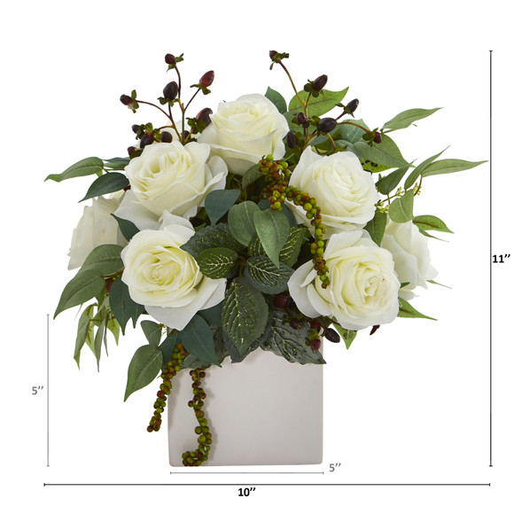 11 Rose and Mixed Greens and Berries Artificial Arrangement - SKU #A1133-WH - 1