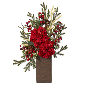 25 Hydrangea and Holly Berry Artificial Arrangement - SKU #A1134