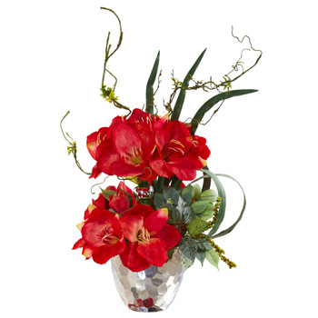 24 Amaryllis and Mixed Greens Artificial Arrangement in Silver Bowl - SKU #A1135