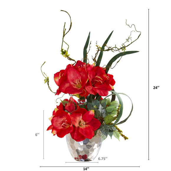 24 Amaryllis and Mixed Greens Artificial Arrangement in Silver Bowl - SKU #A1135 - 1