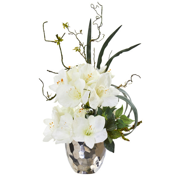 24 Amaryllis and Mixed Greens Artificial Arrangement in Silver Bowl - SKU #A1135 - 2