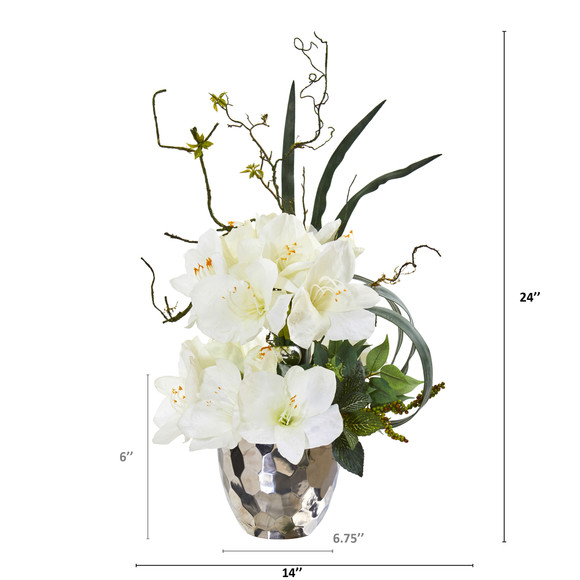 24 Amaryllis and Mixed Greens Artificial Arrangement in Silver Bowl - SKU #A1135 - 3