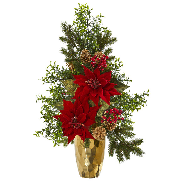 25 Poinsettia Boxwood and Pine Artificial Arrangement in Gold Vase - SKU #A1136