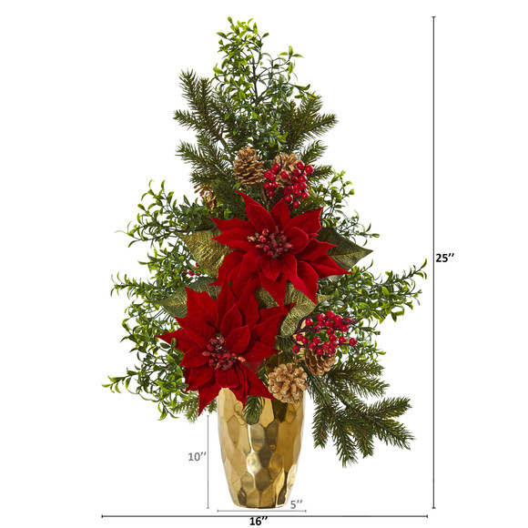 25 Poinsettia Boxwood and Pine Artificial Arrangement in Gold Vase - SKU #A1136 - 1