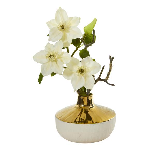 16 Anemone Artificial Arrangement in Gold and Cream Elegant Vase - SKU #A1140 - 6