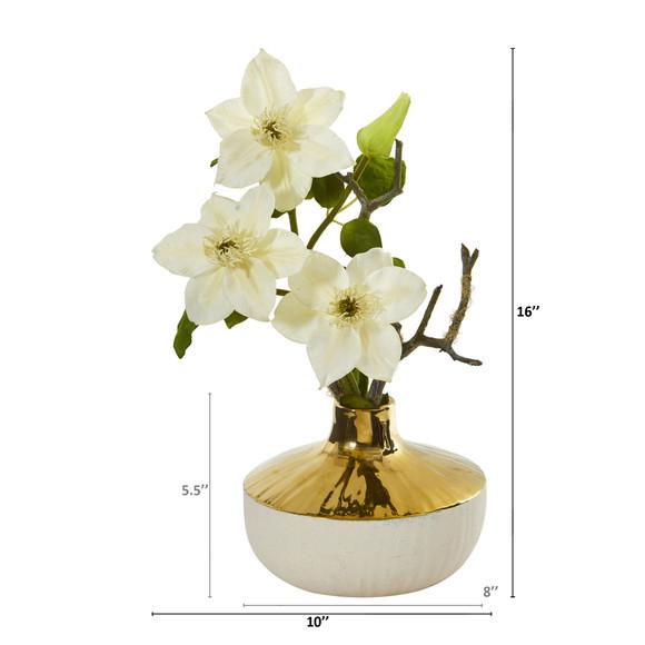 16 Anemone Artificial Arrangement in Gold and Cream Elegant Vase - SKU #A1140 - 7