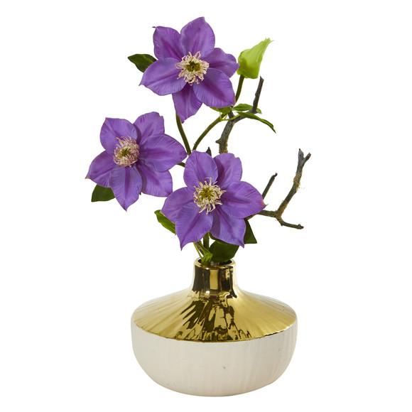 16 Anemone Artificial Arrangement in Gold and Cream Elegant Vase - SKU #A1140