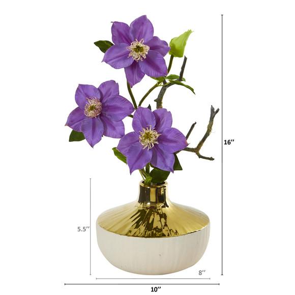 16 Anemone Artificial Arrangement in Gold and Cream Elegant Vase - SKU #A1140 - 1