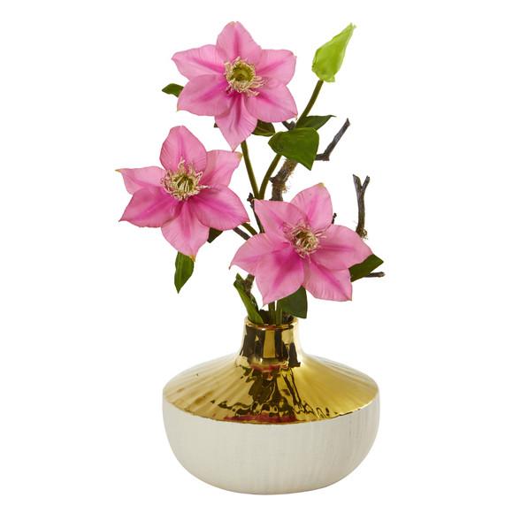 16 Anemone Artificial Arrangement in Gold and Cream Elegant Vase - SKU #A1140 - 2