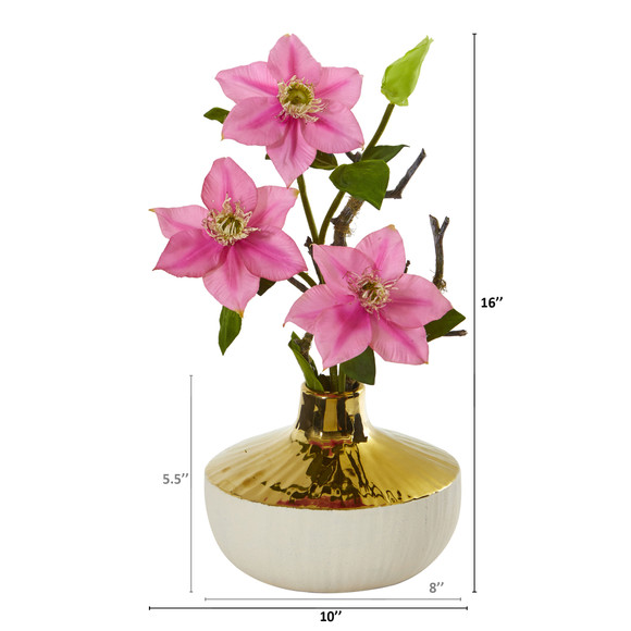 16 Anemone Artificial Arrangement in Gold and Cream Elegant Vase - SKU #A1140 - 3