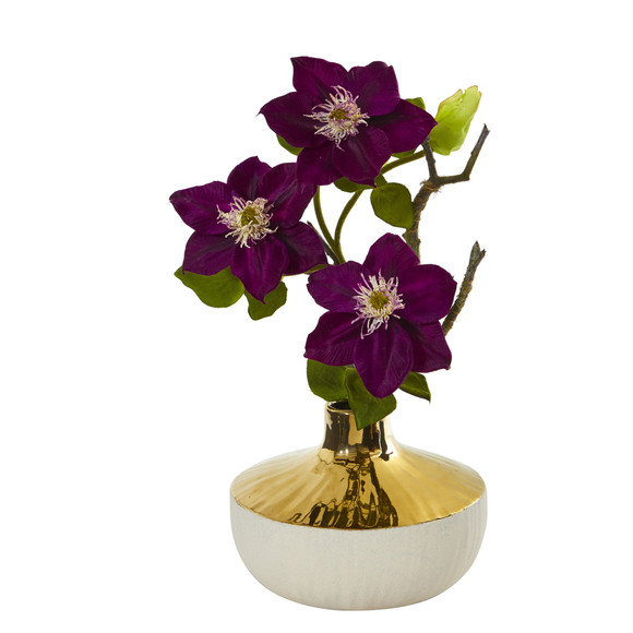 16 Anemone Artificial Arrangement in Gold and Cream Elegant Vase - SKU #A1140 - 4