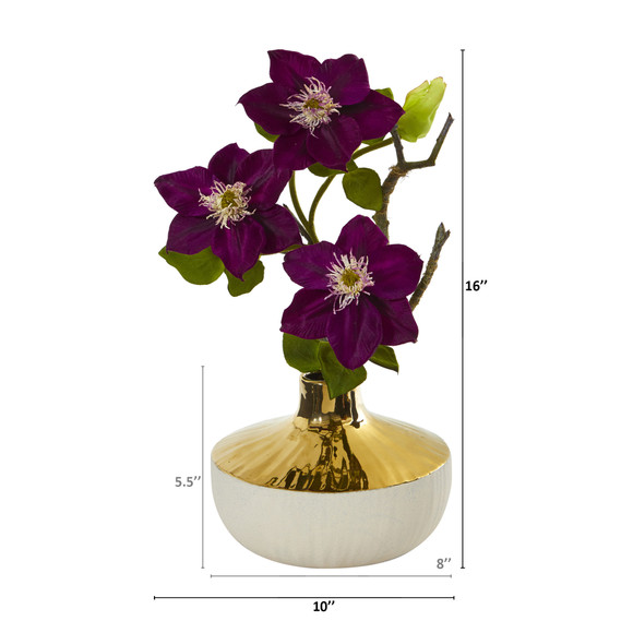 16 Anemone Artificial Arrangement in Gold and Cream Elegant Vase - SKU #A1140 - 5