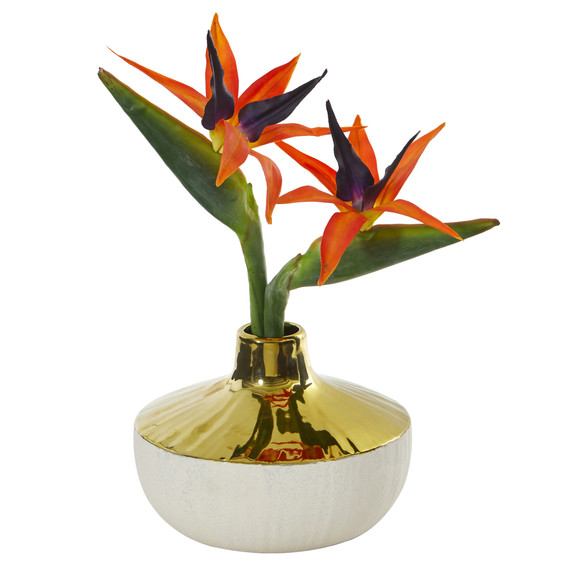 14 Bird of Paradise Artificial Arrangement in Gold and Cream Elegant Vase - SKU #A1141