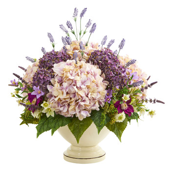 32 Hydrangea Lavender and Mixed Flower Artificial Arrangement - SKU #A1143