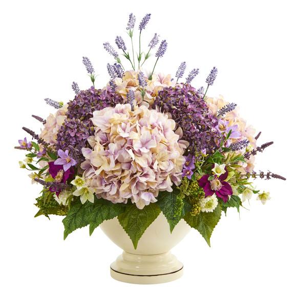 32 Hydrangea Lavender and Mixed Flower Artificial Arrangement - SKU #A1143