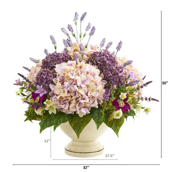 32 Hydrangea Lavender and Mixed Flower Artificial Arrangement - SKU #A1143 - 1