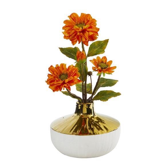 15 Zinnia Artificial Arrangement in Gold and Cream Elegant Vase - SKU #A1144 - 2